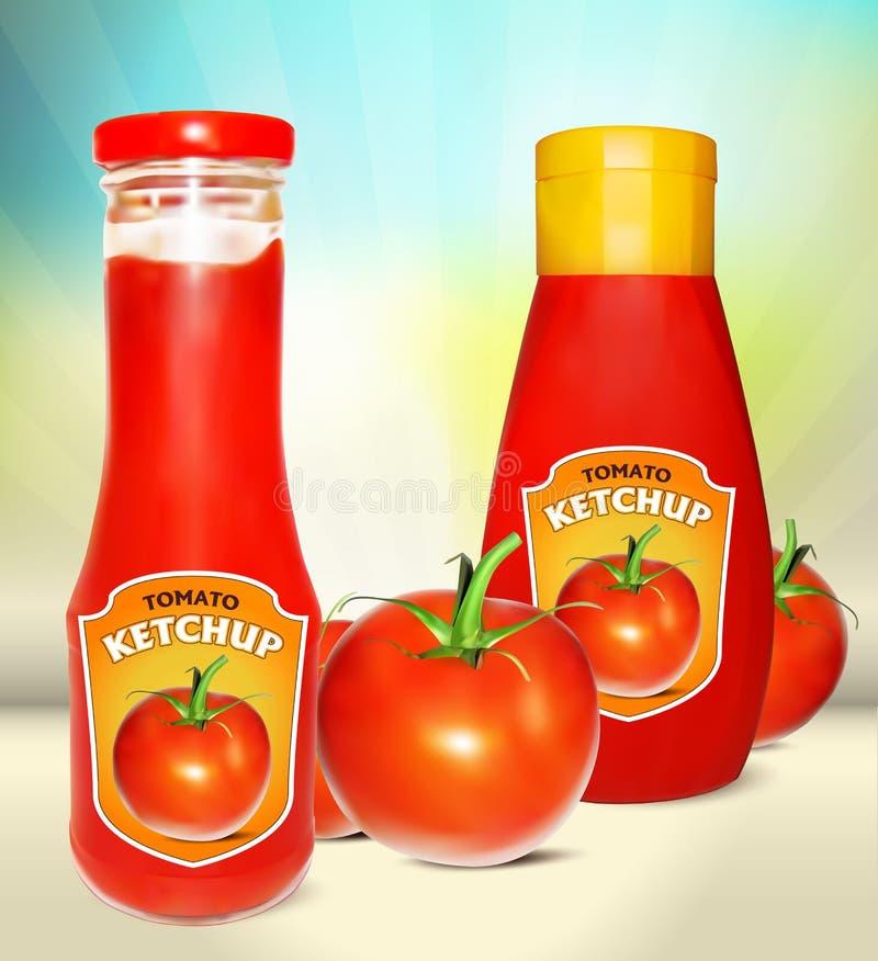 Ketchupflaskor med etiketten och den nya tomaten stock illustrationer
