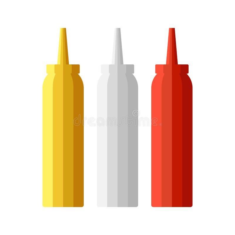 Ketchupmajonnäs och senapsgult flaskuppsättning Vektorcatroonillustration vektor illustrationer