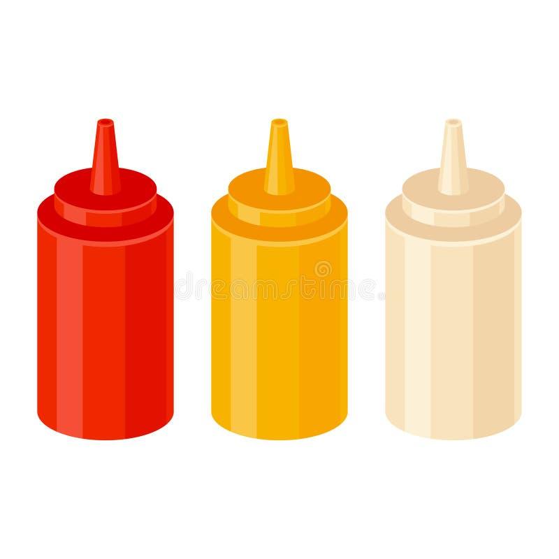 Ketchupsenap- och majonnäsflaskor vektor illustrationer