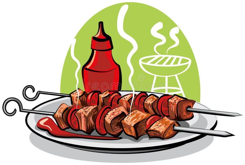 ketchupu piec na grillu mięso ilustracji
