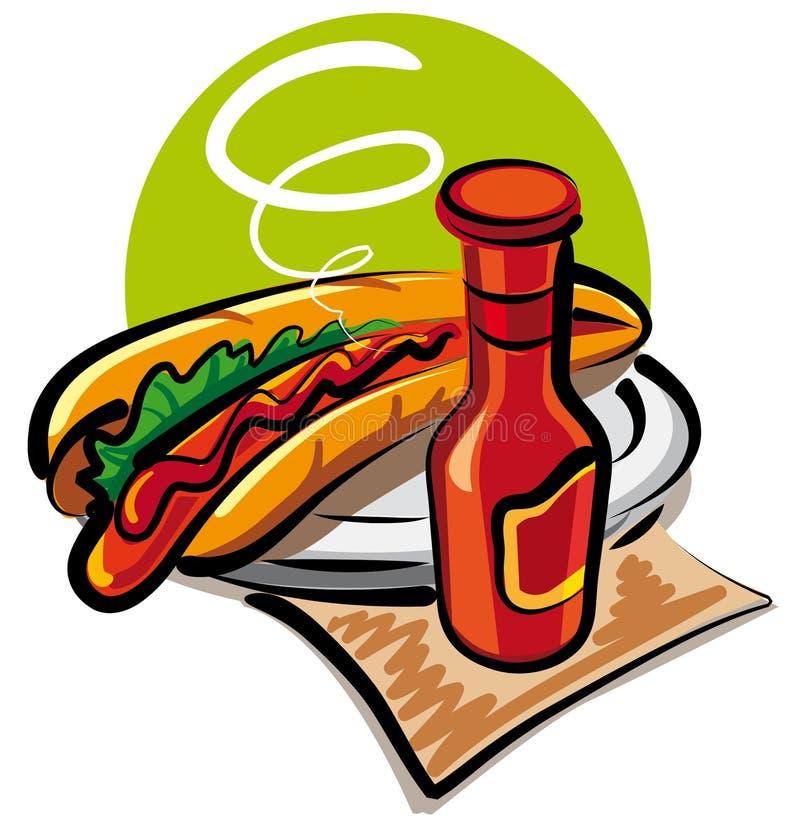 ketchupu psi gorący pomidor ilustracji