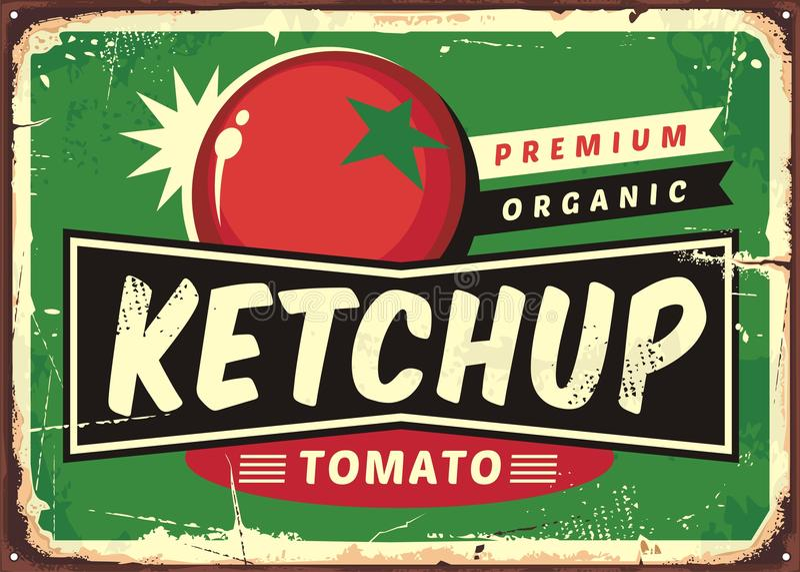 Ketchupu retro znak z soczystym pomidorem royalty ilustracja