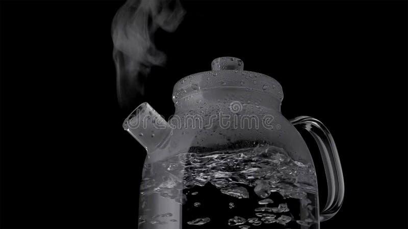 Ketel met kokend die water en stoom op zwarte achtergrond wordt geïsoleerd royalty-vrije stock foto