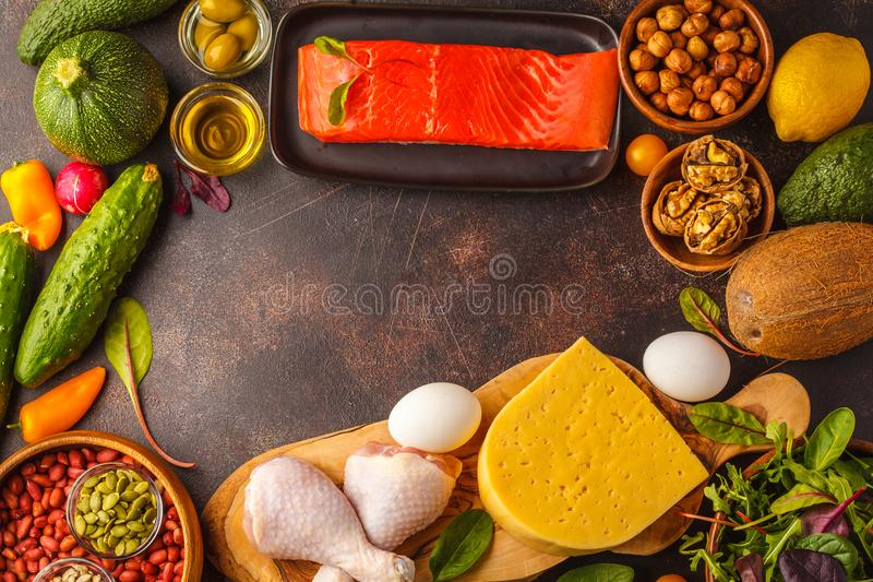 Keto能转化为酮的饮食概念 高蛋白食物,食物框架bac 免版税图库摄影