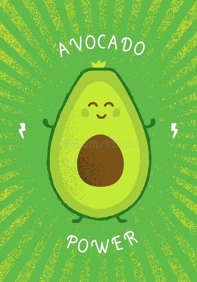 Keto饮食鲕梨力量滑稽的创造性的传染媒介诱导海报概念 有机营养健康食品明亮的横幅 库存例证
