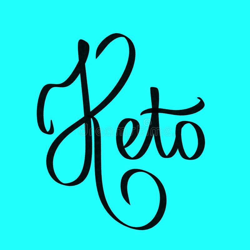 Keto Σύντομη λέξη εγγραφής Keto απεικόνιση διατροφής Μαύρο σημάδι στο μπλε υπόβαθρο Κετονογενετική φράση διατροφής Αφίσα, έμβλημα ελεύθερη απεικόνιση δικαιώματος
