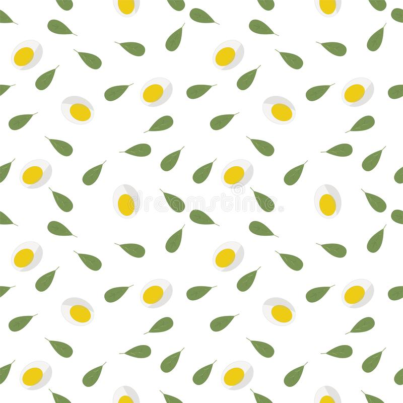 Keto?? 新鲜的绿色莴苣,被对分的鸡蛋的无缝的样式 r 能使用作为包装为健康食物 皇族释放例证