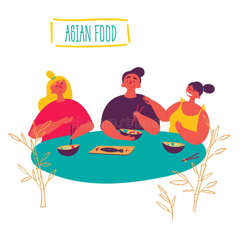 Keto azjaty jedzenie Przyjaciele jedzą przy tajlandzką restauracją ilustracji