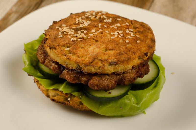 Keto burger with cauliflower. Closeup photography stock photos