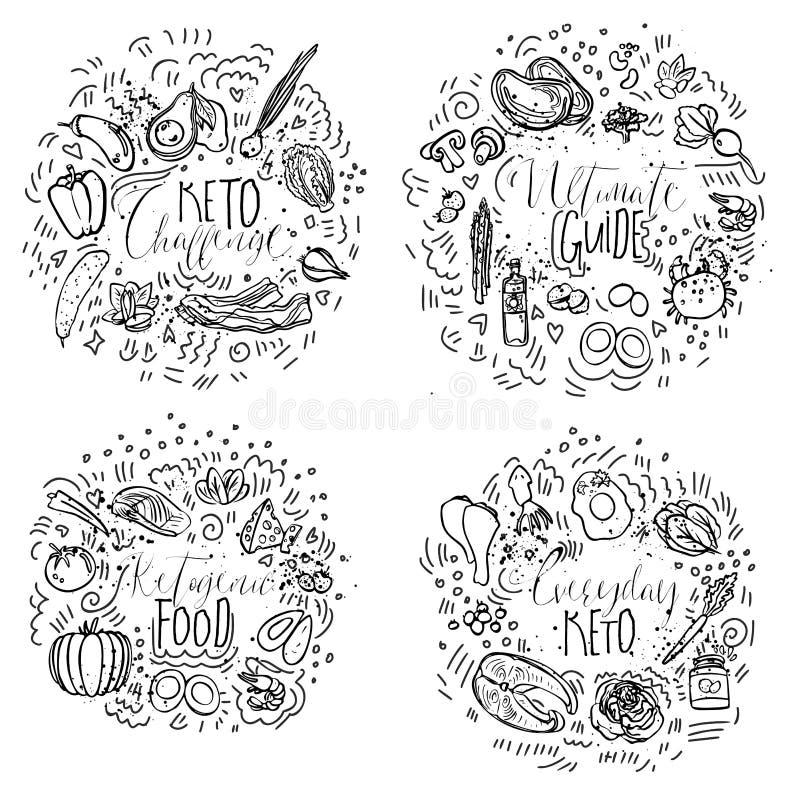 Keto Challenge, Ultimate Guide, Ketogenic Food, Everyday Keto - black and white vector sketch illustration concept stock illustration