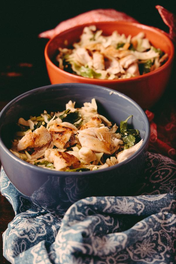 Keto chicken salad with cabbage stock image
