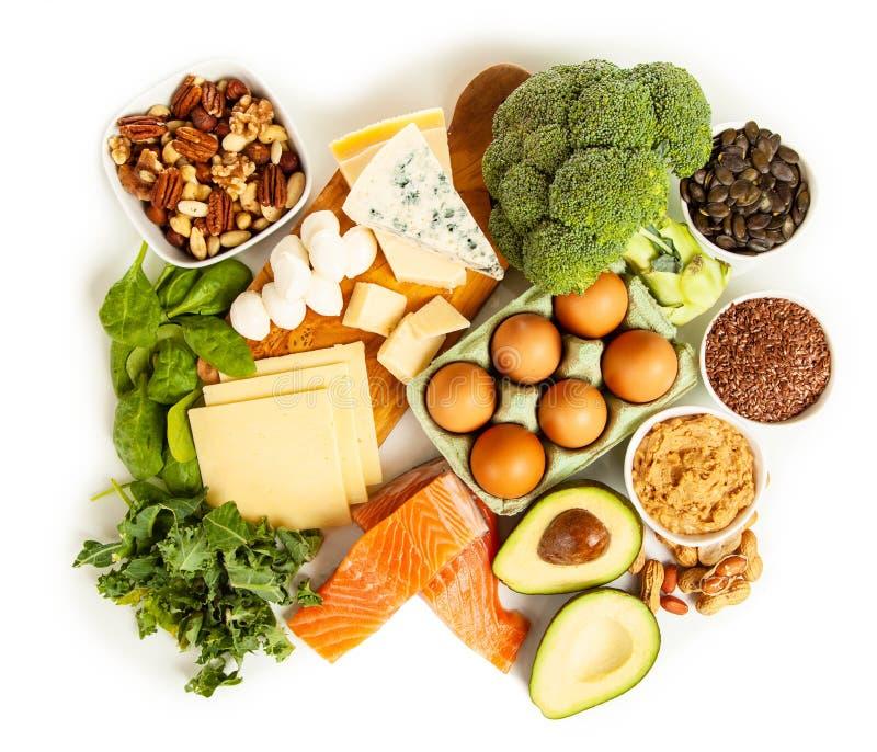 Keto de ingrediënten van het dieetvoedsel royalty-vrije stock afbeeldingen