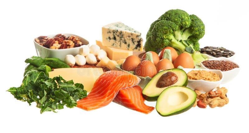 Keto de ingrediënten van het dieetvoedsel stock afbeeldingen