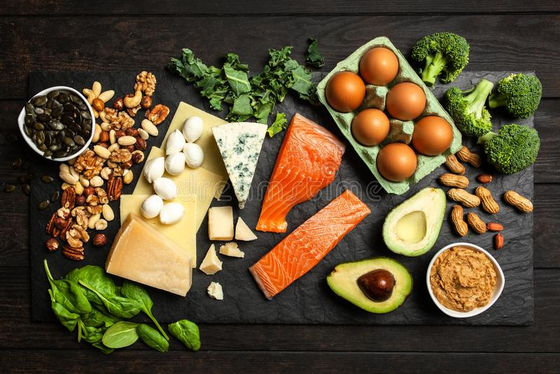 Keto de ingrediënten van het dieetvoedsel stock afbeelding