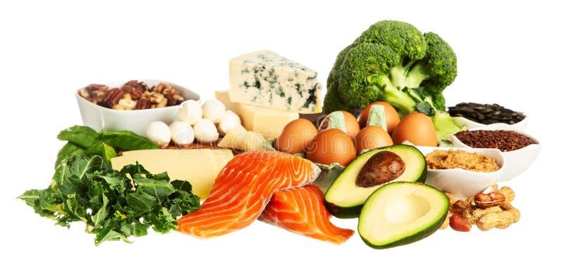 Keto de ingrediënten van het dieetvoedsel stock fotografie