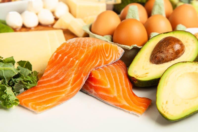 Keto de ingrediënten van het dieetvoedsel royalty-vrije stock foto's