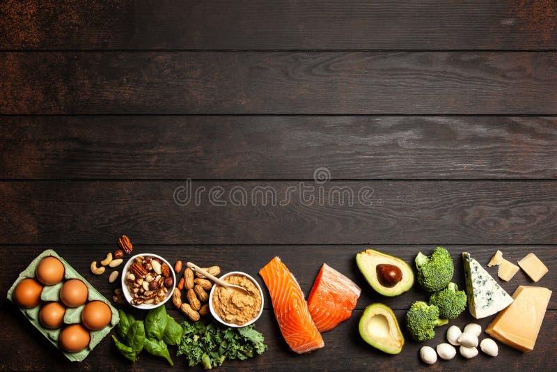Keto de ingrediënten van het dieetvoedsel royalty-vrije stock afbeelding