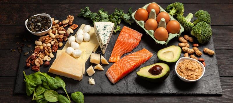 Keto de ingrediënten van het dieetvoedsel stock foto's