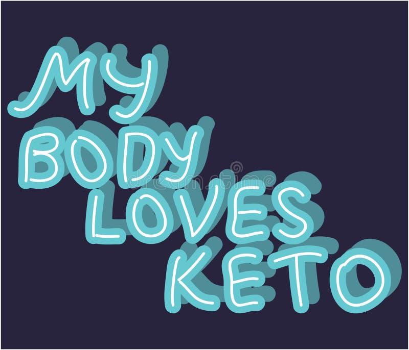 Keto Dieet hand het getrokken van letters voorzien Laag carburatordieet clipart, sticker Mijn lichaam houdt keto van citaat vector illustratie