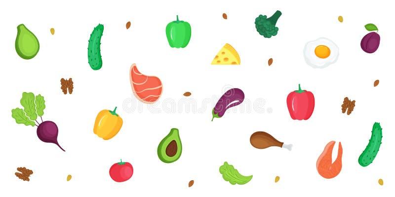 Keto dieet Ketogenic lage hoge carburator en prote?ne, - vet Horizontale banner van verse groenten, vissen, vlees, noten royalty-vrije illustratie