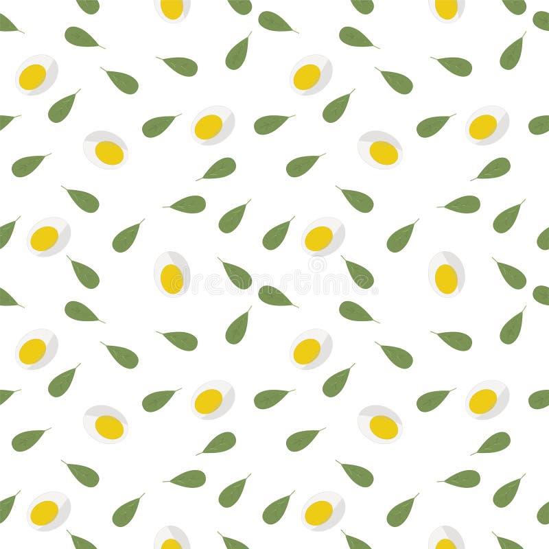 Keto dieet Naadloos patroon van verse Groene sla, gehalveerde eieren Lichte achtergrond Kan worden gebruikt zoals verpakkend voor royalty-vrije illustratie