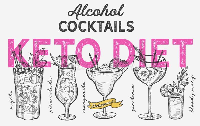 Keto diet cocktail illustration, vector hand drawn alcohol drinks. Keto diet cocktail illustration - margarita, mojito, gin tonic, pina colada. Vector hand drawn stock illustration