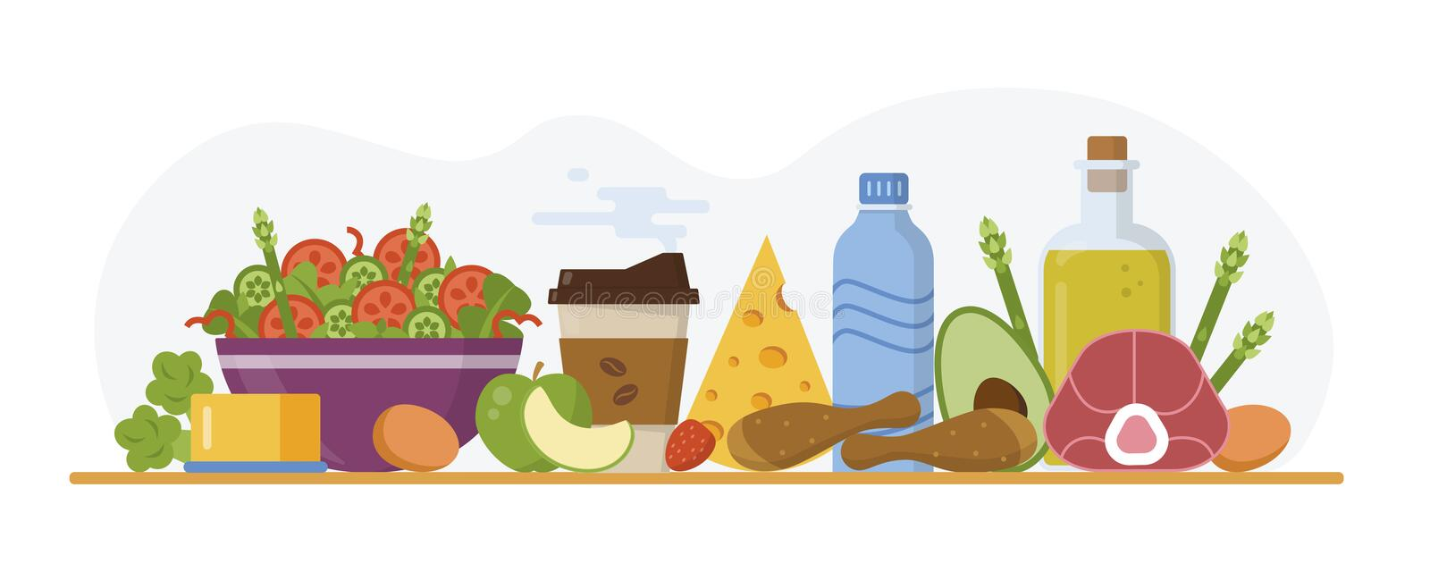 Keto diet concept. Ketogenic food and drinks on the table. Flat design. Vector illustration vector illustration
