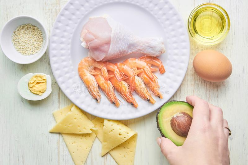 Keto diet concept. Ketogenic diet food. Balanced low-carb food background. Vegetables, seafood, chicken, cheese, nuts on a white stock photos