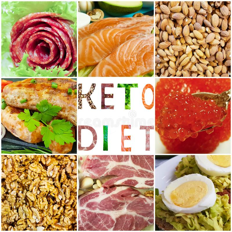 Keto diet food collage. Healthy eating, nutrition stock image