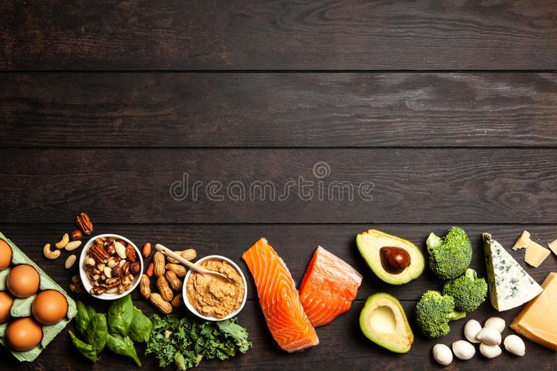 Keto diet food ingredients. Ketogenic diet concept - low carb healthy food stock photos