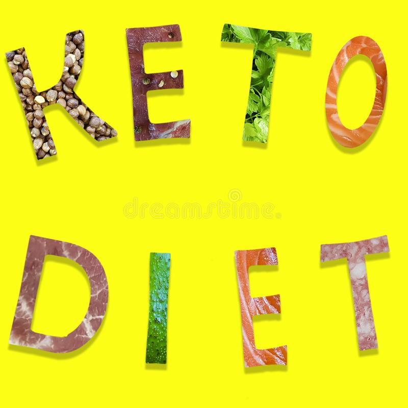 keto diet food letters on yellow background royalty free stock photo