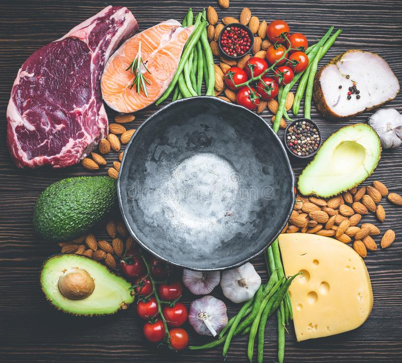 Keto diet foods royalty free stock images