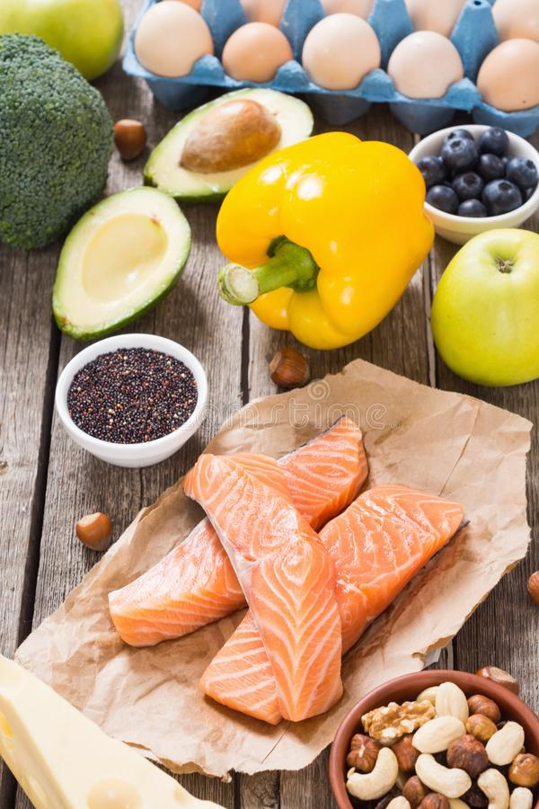 Keto diet . Healthy background. Keto diet ingredient . Healthy background . Ketogenic protein food royalty free stock photo