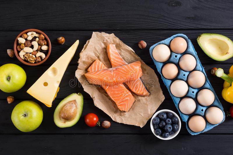 Keto diet . Healthy background. Keto diet ingredient . Healthy background . Ketogenic protein food stock photography