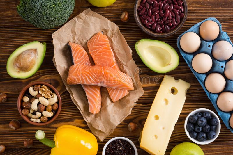 Keto diet . Healthy background. Keto diet ingredient . Healthy background . Ketogenic protein food royalty free stock photography