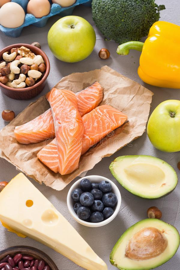 Keto diet . Healthy background. Keto diet ingredient . Healthy background . Ketogenic protein food royalty free stock images