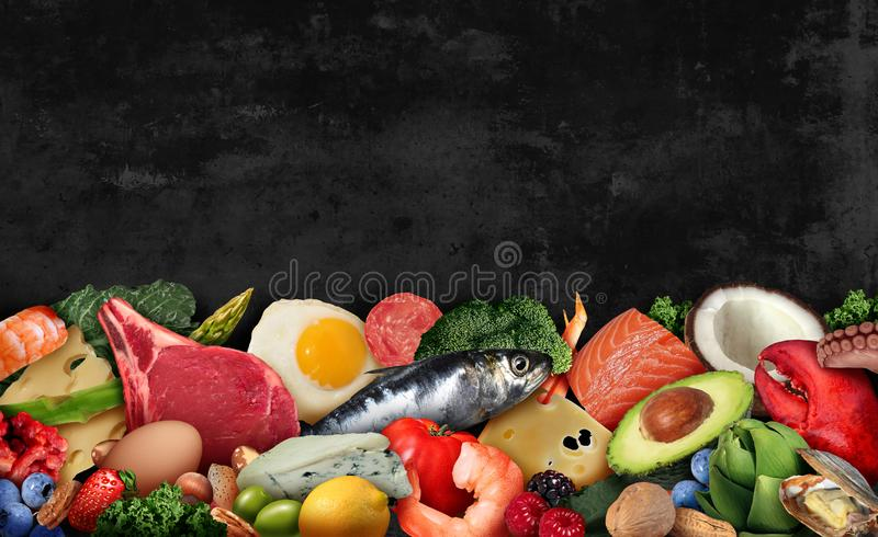 Keto Food Background. As a nutrition lifestyle and ketogenic diet low carb and high fat eating as fish nuts eggs meat avocado and other healthy ingredients as a stock photos