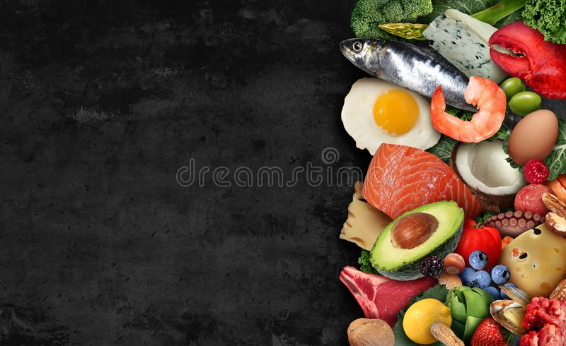 Keto Food Background. As a nutrition lifestyle and ketogenic diet low carb and high fat eating as fish nuts eggs meat avocado and other healthy ingredients as a royalty free stock photos
