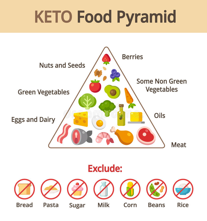 Keto food pyramid stock illustration
