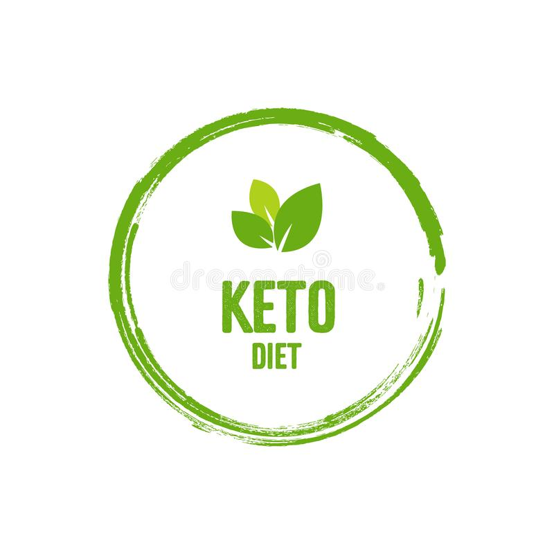 Keto friendly diet nutrition vector illustration. Bold green text and leaves related to organic food. Trendy illustration for. Banner, sticker or badge royalty free illustration