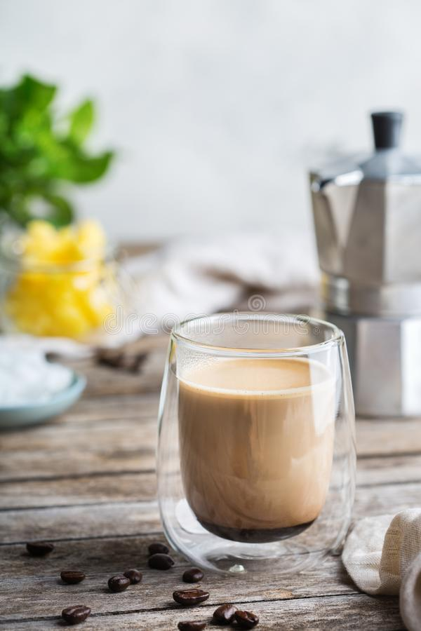 Keto, ketogenic bulletproof coffee with coconut oil and ghee butter. Healthy clean eating concept, keto, ketogenic diet, breakfast morning table. Brewed royalty free stock photography
