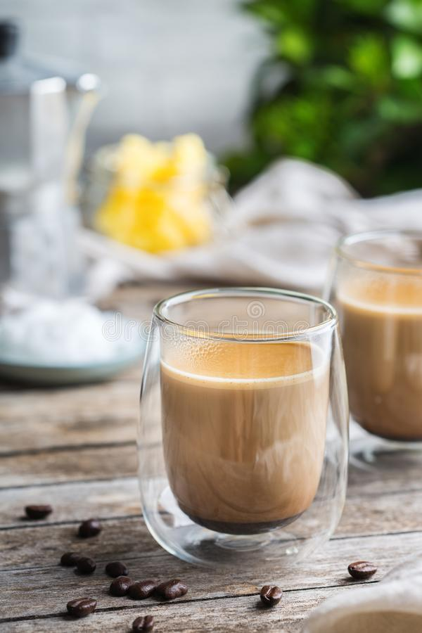 Keto, ketogenic bulletproof coffee with coconut oil and ghee butter. Healthy clean eating concept, keto, ketogenic diet, breakfast morning table. Brewed stock photos