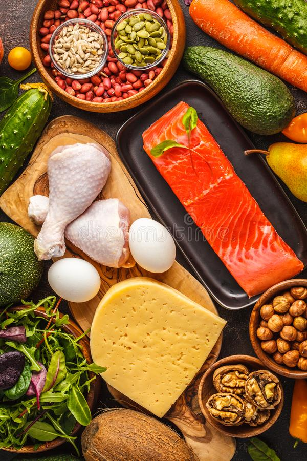 Keto ketogenic diet concept. Balanced low-carb food background royalty free stock image