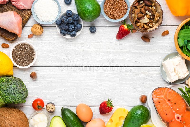 Keto, ketogenic diet concept, low carb, high good fat , healthy food. top view. With copy space stock photo