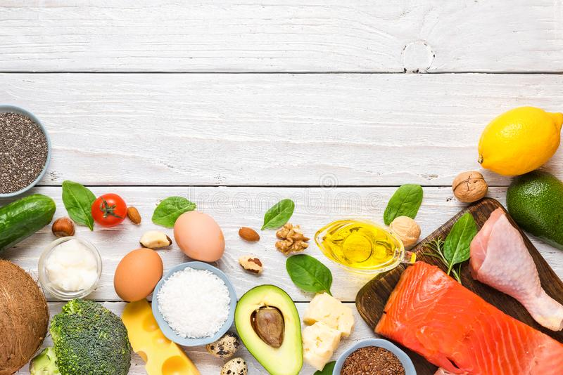 Keto ketogenic diet concept, low carb, high good fat , healthy food. top view. With copy space stock photography