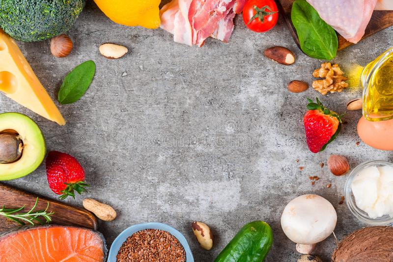 Keto ketogenic diet concept, low carb, high good fat , healthy food. top view. With copy space royalty free stock image
