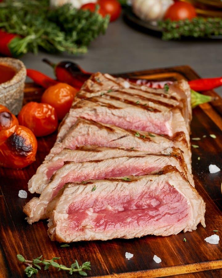 Keto Ketogenic Diet Beef Steak, Striploin On Gray Plate On