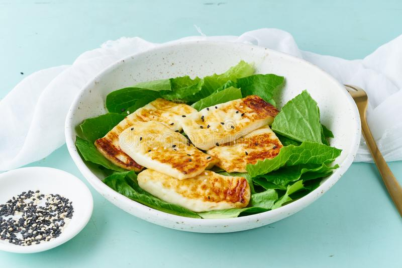 Keto ketogenic diet haloumi with lettuce on pastel background closeup, healthy food stock images
