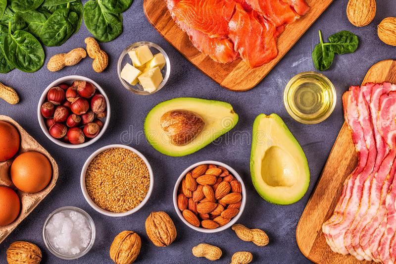 Keto, ketogenic diet, low carb, healthy food background. Top view stock photo