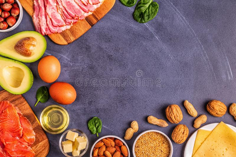 Keto, ketogenic diet, low carb, healthy food background stock photos